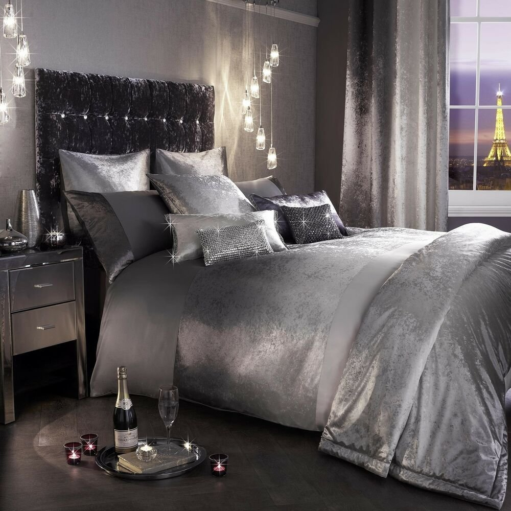 Best Kylie Minogue Ombre Slate Grey Silver Bedding Duvet With Pictures