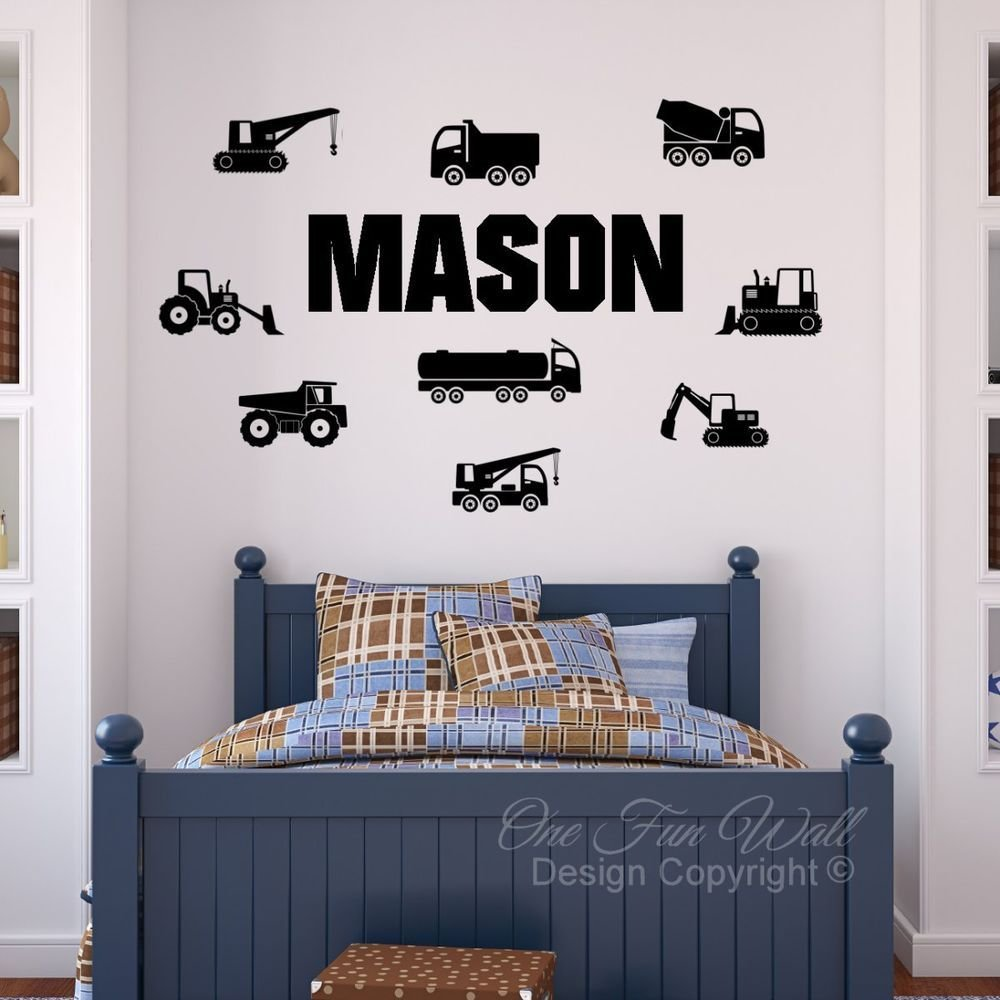Best Personalized Name 9 Construction Trucks Bedroom Vinyl Wall With Pictures