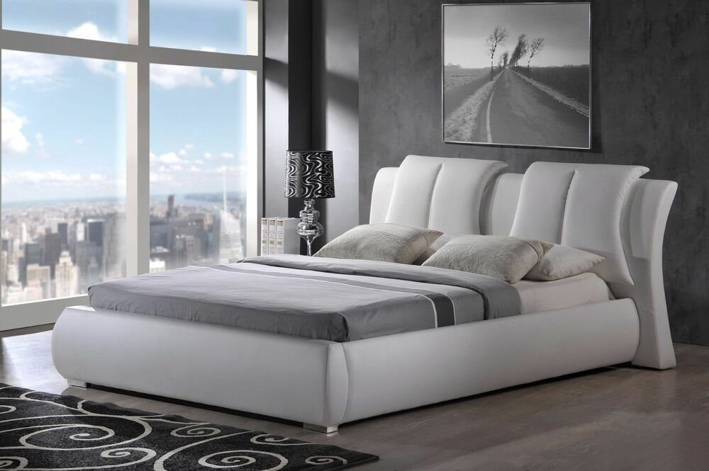 Best Modern King Queen Size Leather Platform Bed Frame W With Pictures