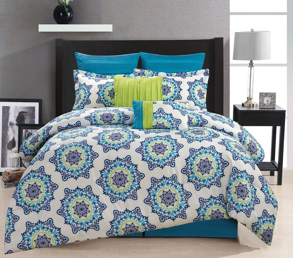 Best 8 Piece Christina Blue Green Comforter Set Ebay With Pictures