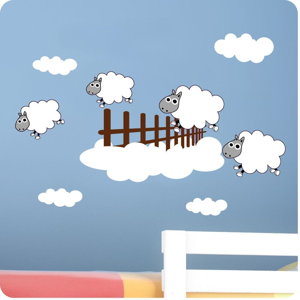 Best Childrens Bedroom Counting Sheep Wall Stickers Vinyl Baby With Pictures