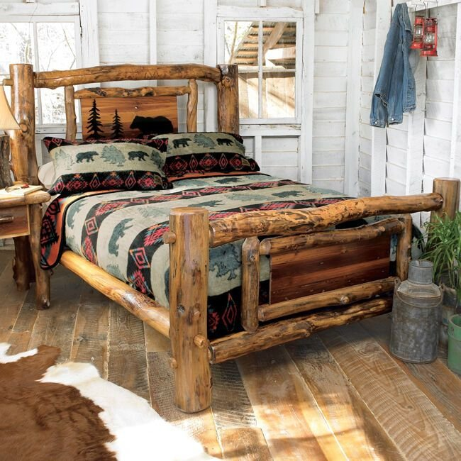 Best Aspen Log Bed Frame Country Western Rustic Wood Bedroom With Pictures