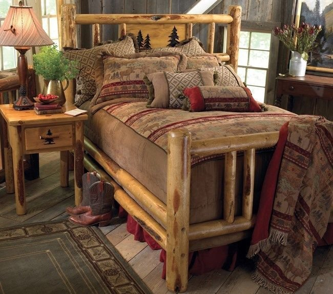 Best Custom Rustic Bed Frame Country Western Bedroom Cabin With Pictures
