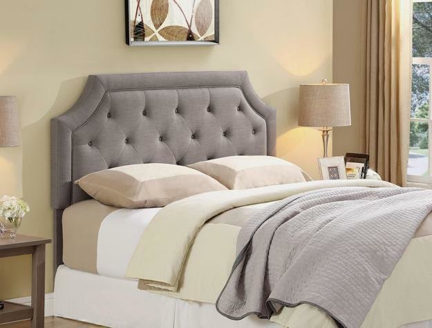 Best Upholstered Gray Queen Size Headboard Padded Bedroom Furniture Tufted Look 5265 Ebay With Pictures