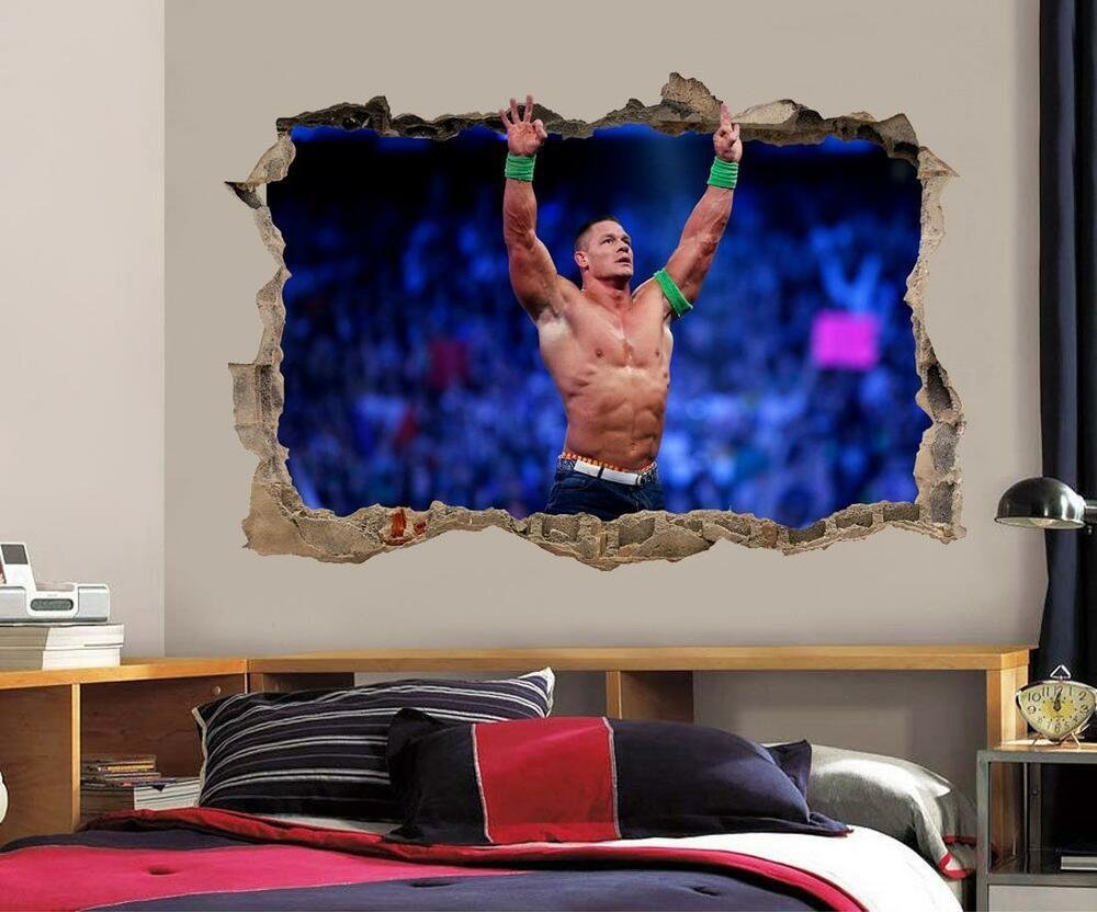 Best John Cena Smashed Wall 3D Effect Decal Removable Wall With Pictures