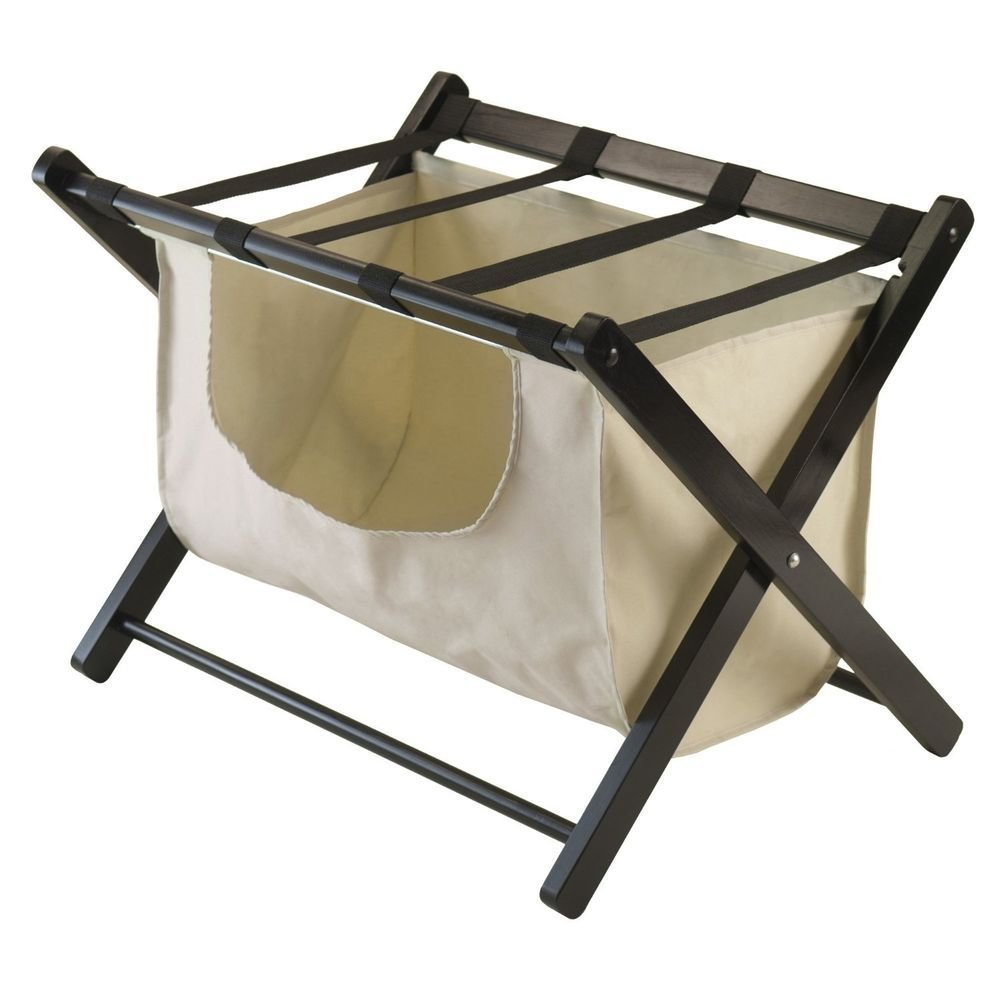 Best Luggage Rack Wood Folding Fabric Basket Hotel Closet With Pictures