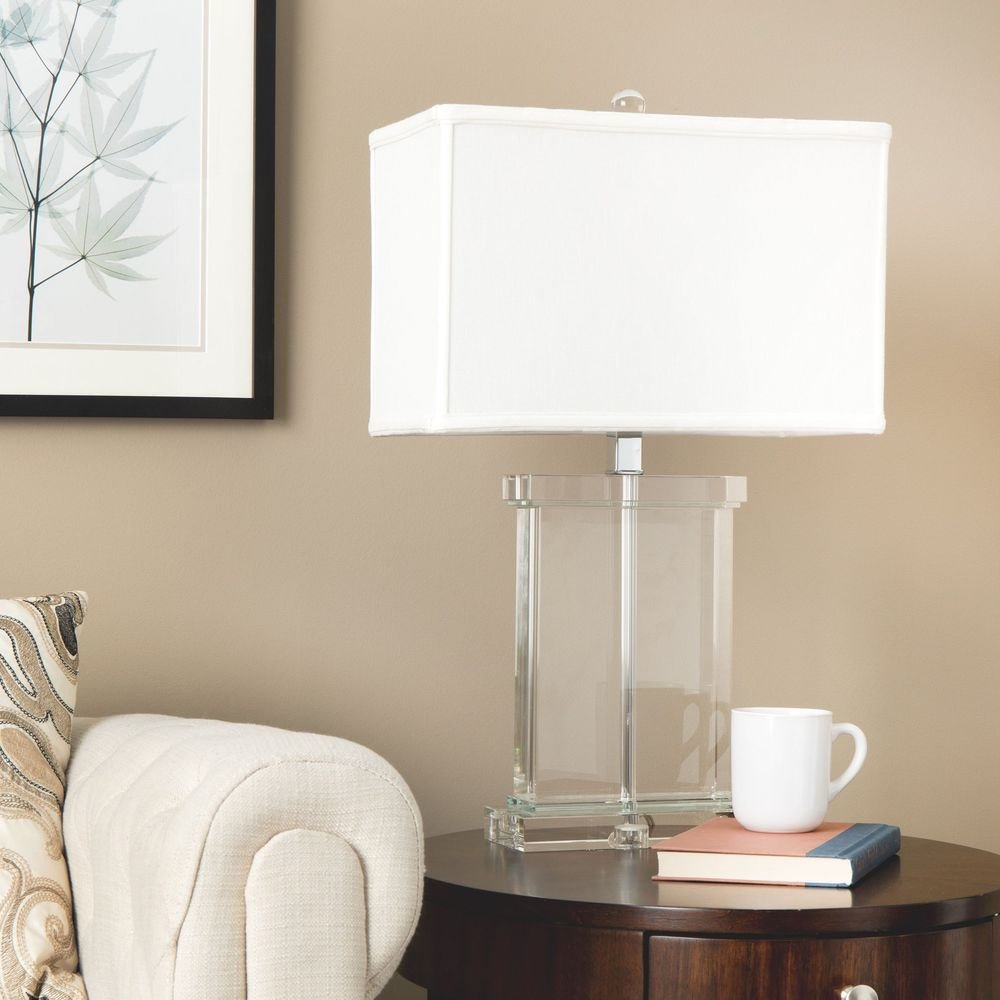 Best Modern Table Lamp White Fabric Shade Crystal Base Accent Living Room Bedroom New Ebay With Pictures
