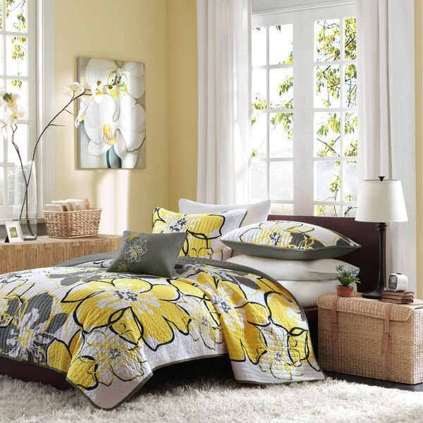Best Beautiful Girls Yellow Gray Floral Soft 3 Pc Comforter Set With Pictures