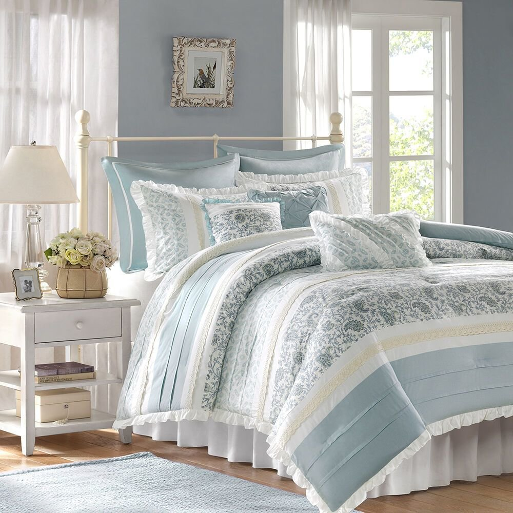 Best Beautiful 8Pc Elegant Vintage Chic White Blue Grey Floral Ruffle Comforter Set Ebay With Pictures