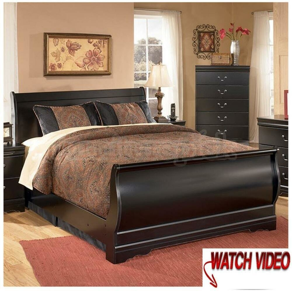 Best Full Size Sleigh Bed Frame Wood Headboard Solid Black With Pictures