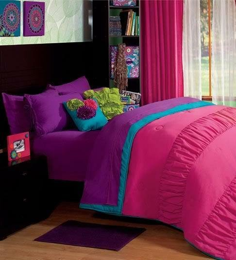 Best Girls And Teens Twin And Queen Size Purple Pink Comforter With Pictures