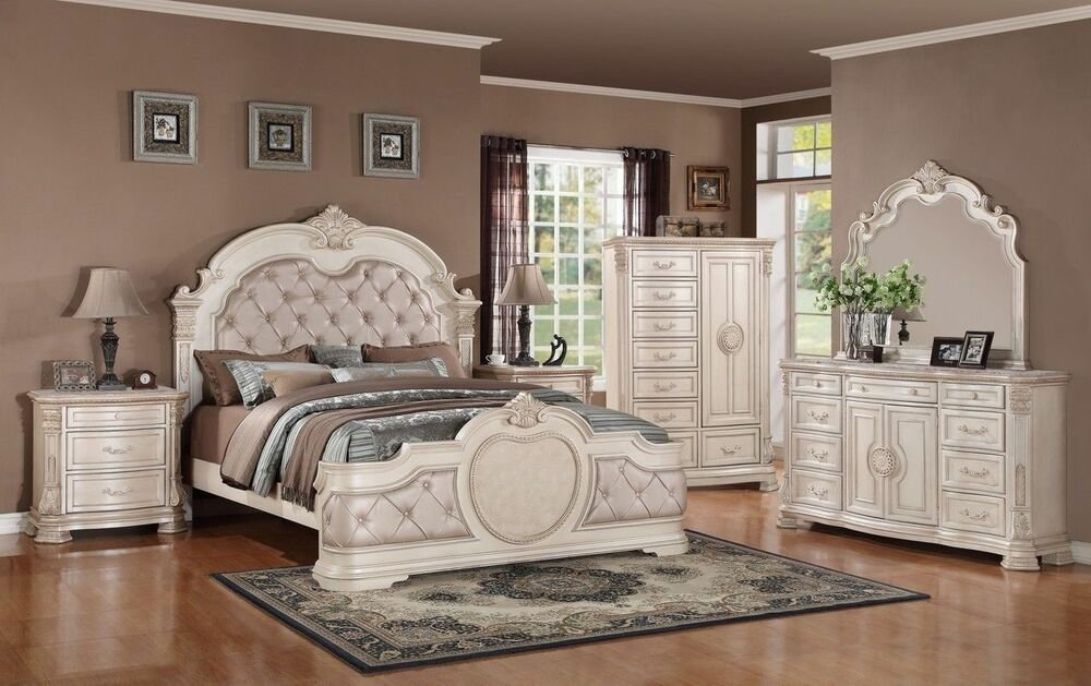 Best 6 Pc Infinity Antique Upholstered Eastern King Bedroom Set With Pictures