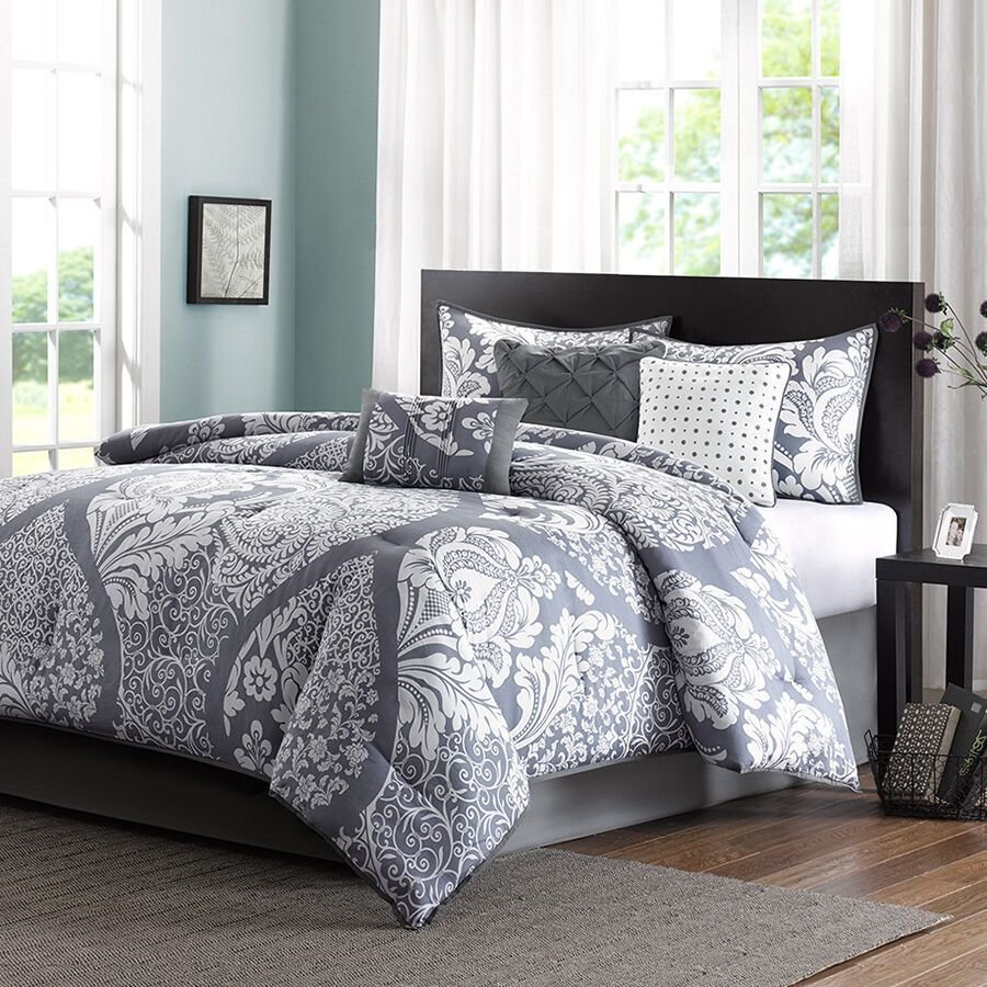 Best Gray White Bed Bag Luxury 7Pc Comforter Set Cal King Queen With Pictures