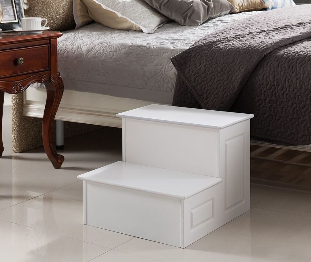 Best Kings Brand Large Wood Bedroom Step Stool White Finish Ebay With Pictures