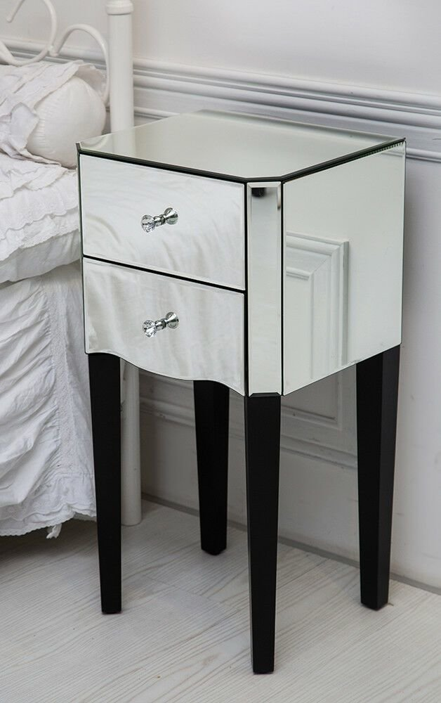 Best Venetian Mirrored Glass Side Bedside Table Mirror Bedroom With Pictures