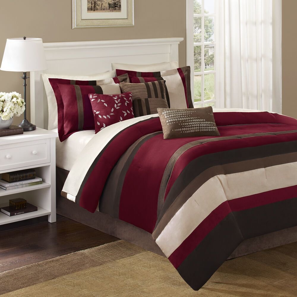 Best Beautiful 7Pc Super Soft Modern Elegant Ivory Brown Red Stripe Comforter Set New Ebay With Pictures