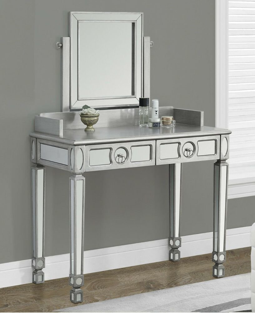 Best Silver Mirrored Vanity Table Vtg Makeup Desk Glam Bedroom Shabby Chic Furniture Ebay With Pictures