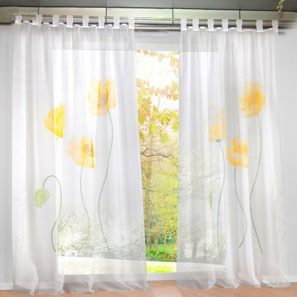 Best 1Pcs Sheer Window Curtain Floral Blackout Curtains Drapes For Bedroom Ebay With Pictures