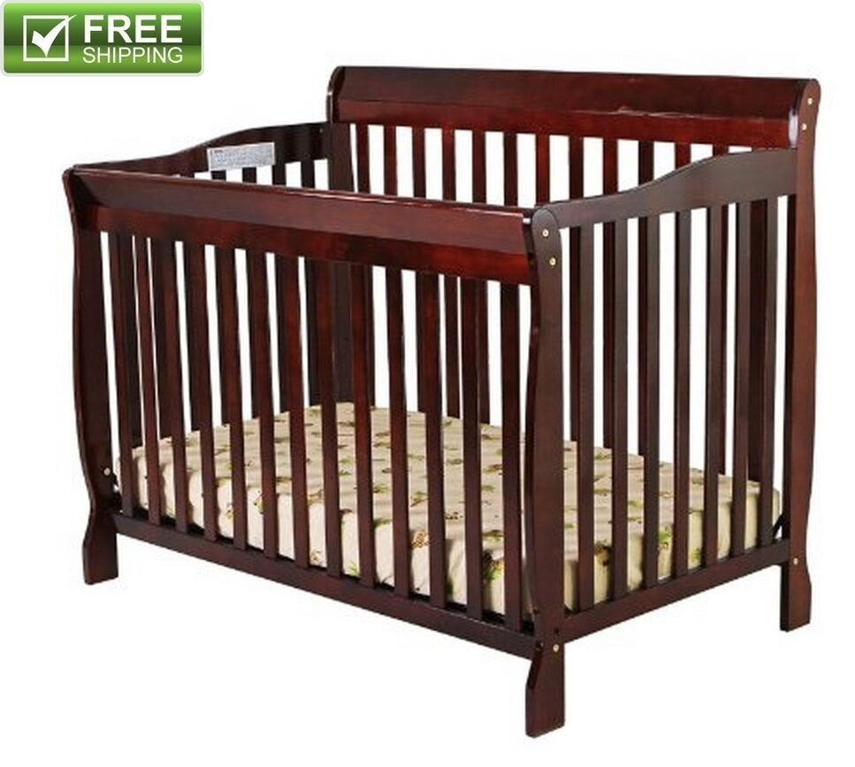 Best Convertible Baby Bed 5 In 1 Full Size Crib Cherry Nursery With Pictures