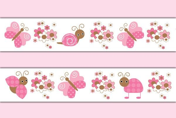 Best Butterfly Ladybug Wallpaper Border Wall Decals Pink Girl With Pictures