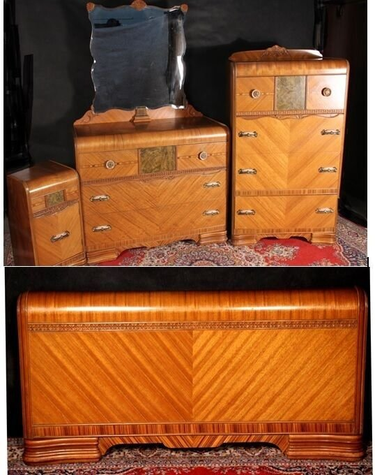 Best Waterfall Bedroom Set Art Deco Dresser Mirror Chest With Pictures