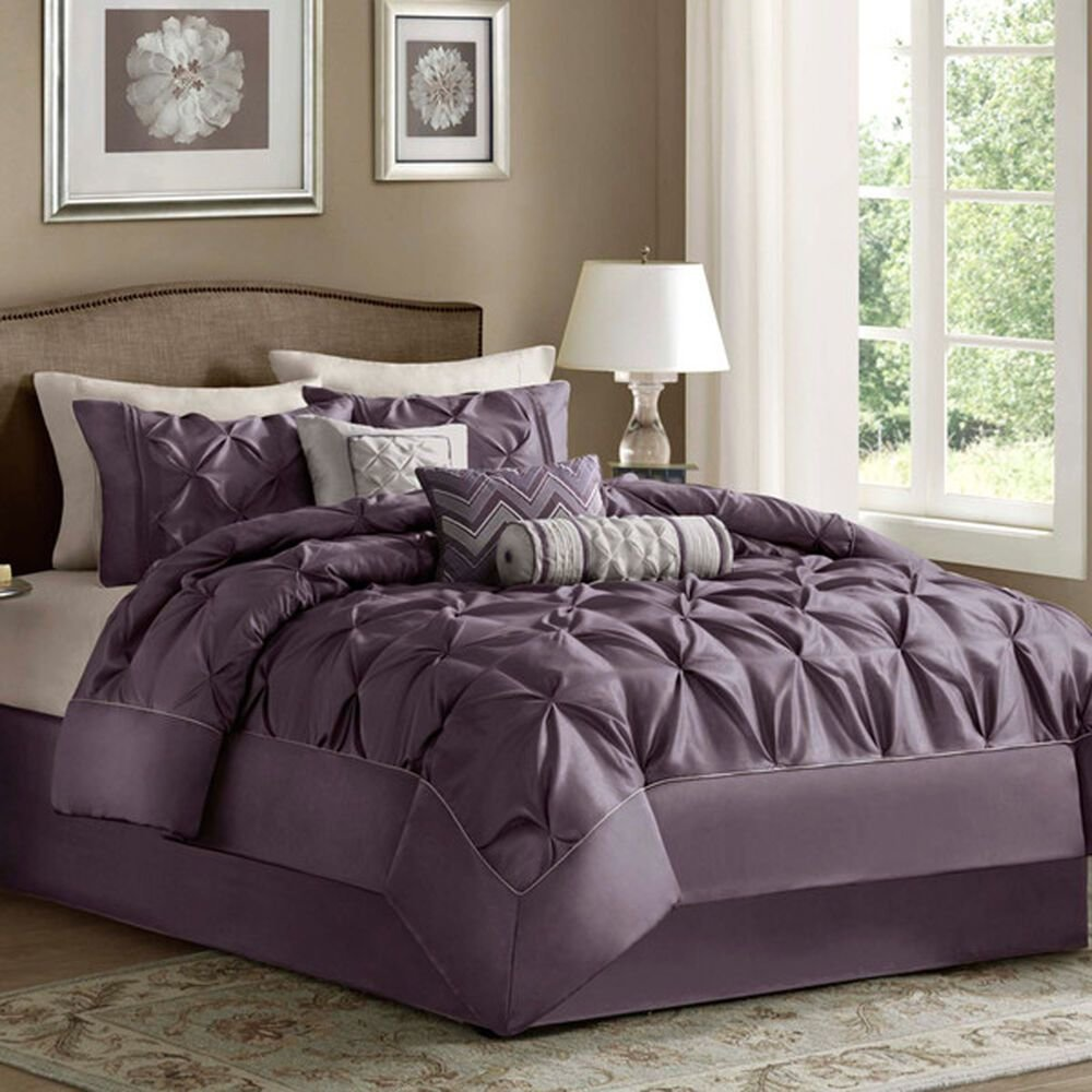 Best King Size Bedding Comforter Set 7 Piece Purple Luxury With Pictures