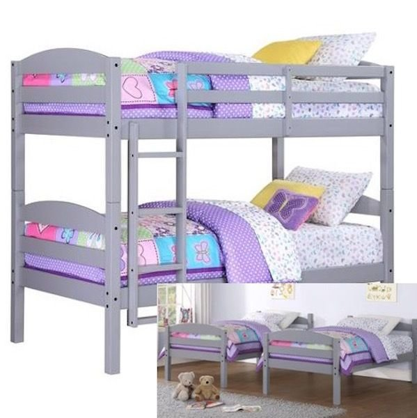 Best Kids Bunk Bed Stairs Converts 2 Twin Beds Gray Wood With Pictures