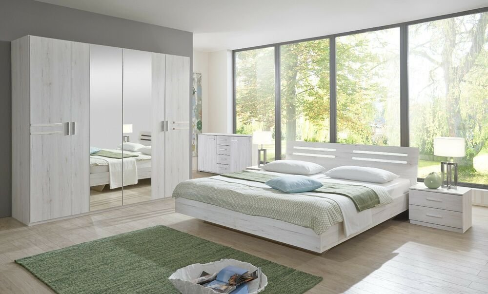 Best New German White Oak Effect Bedroom Furniture Set Wardrobe With Pictures
