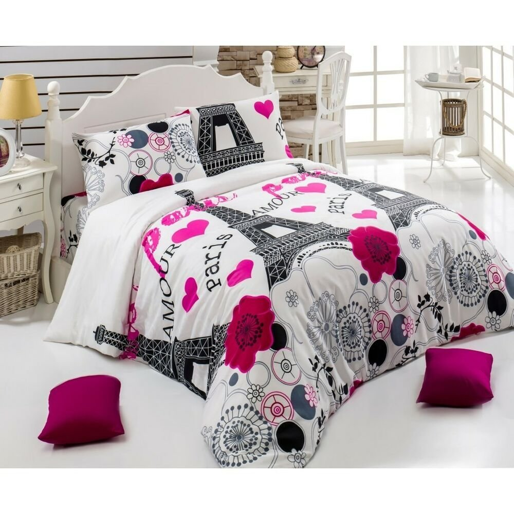 Best Paris City Ranforce Double Queen Duvet Cover Set 4 Pc With Pictures