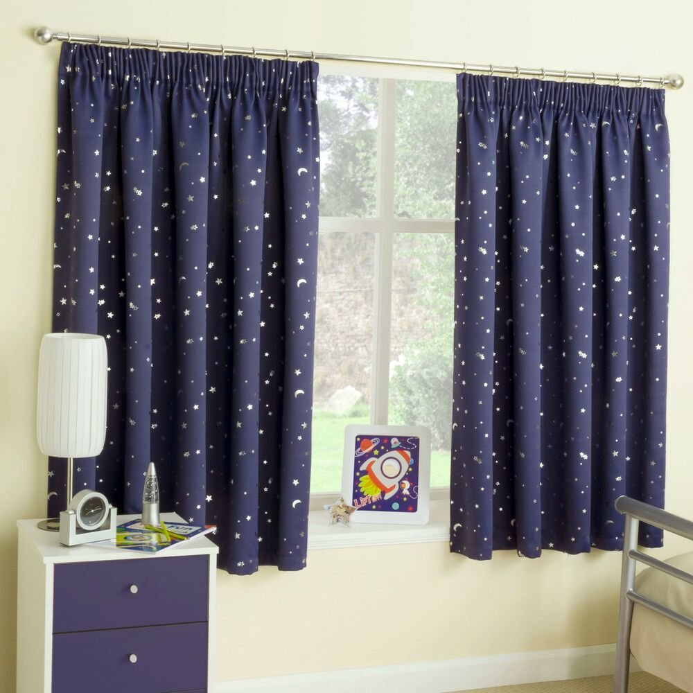 Best Navy Blue Stars Thermal Blockout Tape Top Curtains For With Pictures