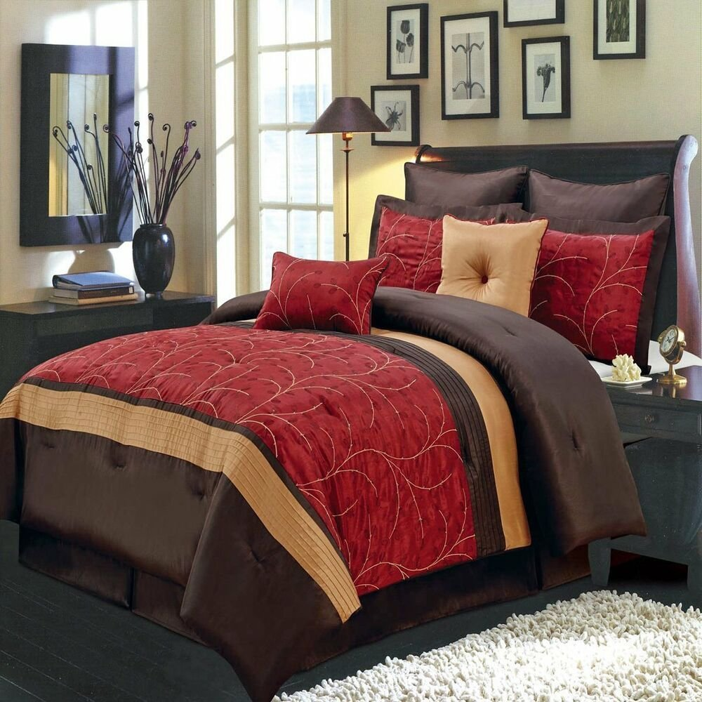 Best 8Pc Atlantis Red Gold And Chocolate Luxury 8 Piece With Pictures