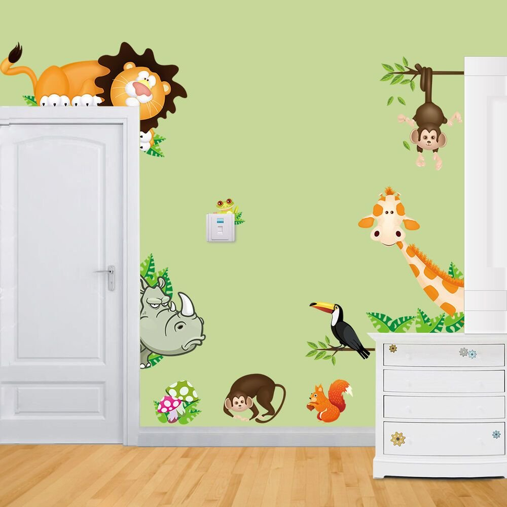 Best Jungle Wild Animals Vinyl Wall Decal Sticker For Kids Baby With Pictures