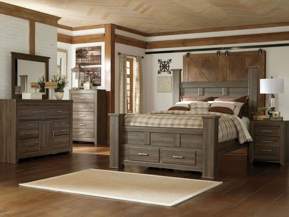 Best Ashley Furniture B251 Juararo Modern Queen King Poster Storage Bed Bedroom Set Ebay With Pictures