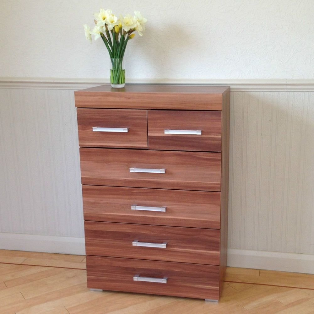 Best Chest Of 4 2 Drawers In Walnut Effect Bedroom Furniture With Pictures