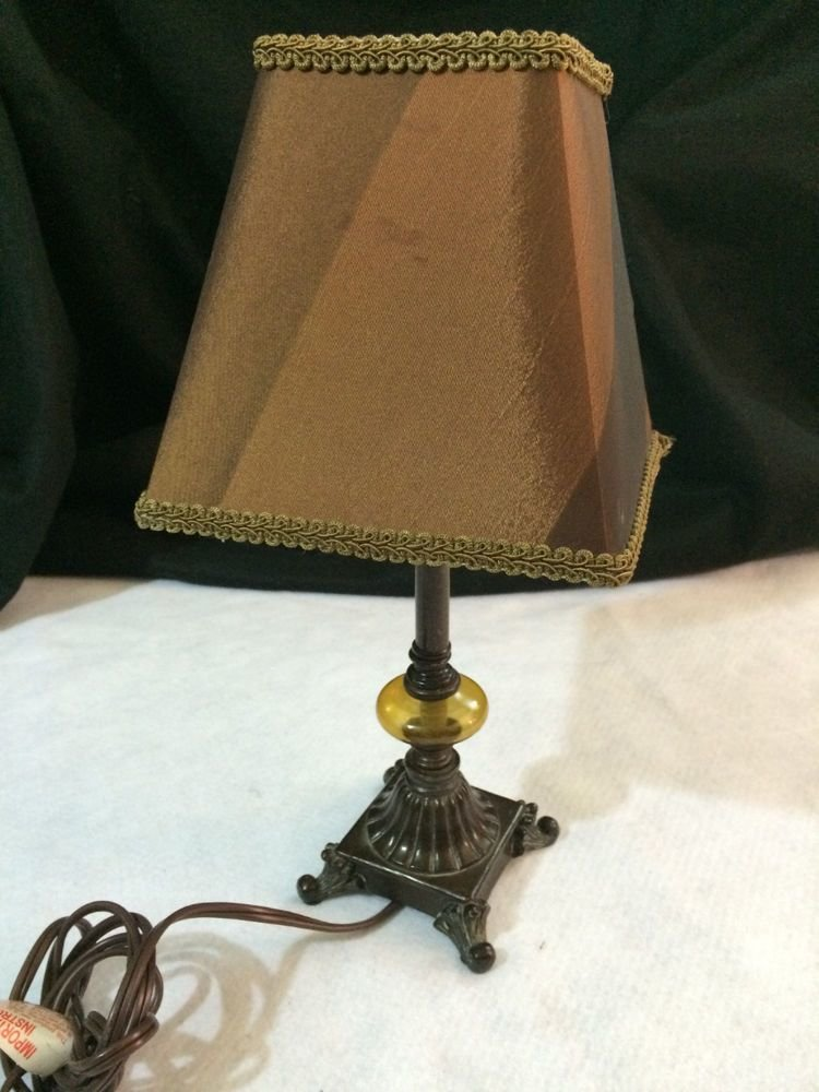 Best Vintage Boudoir Bedroom Reading Table Lamp Small Amber With Pictures