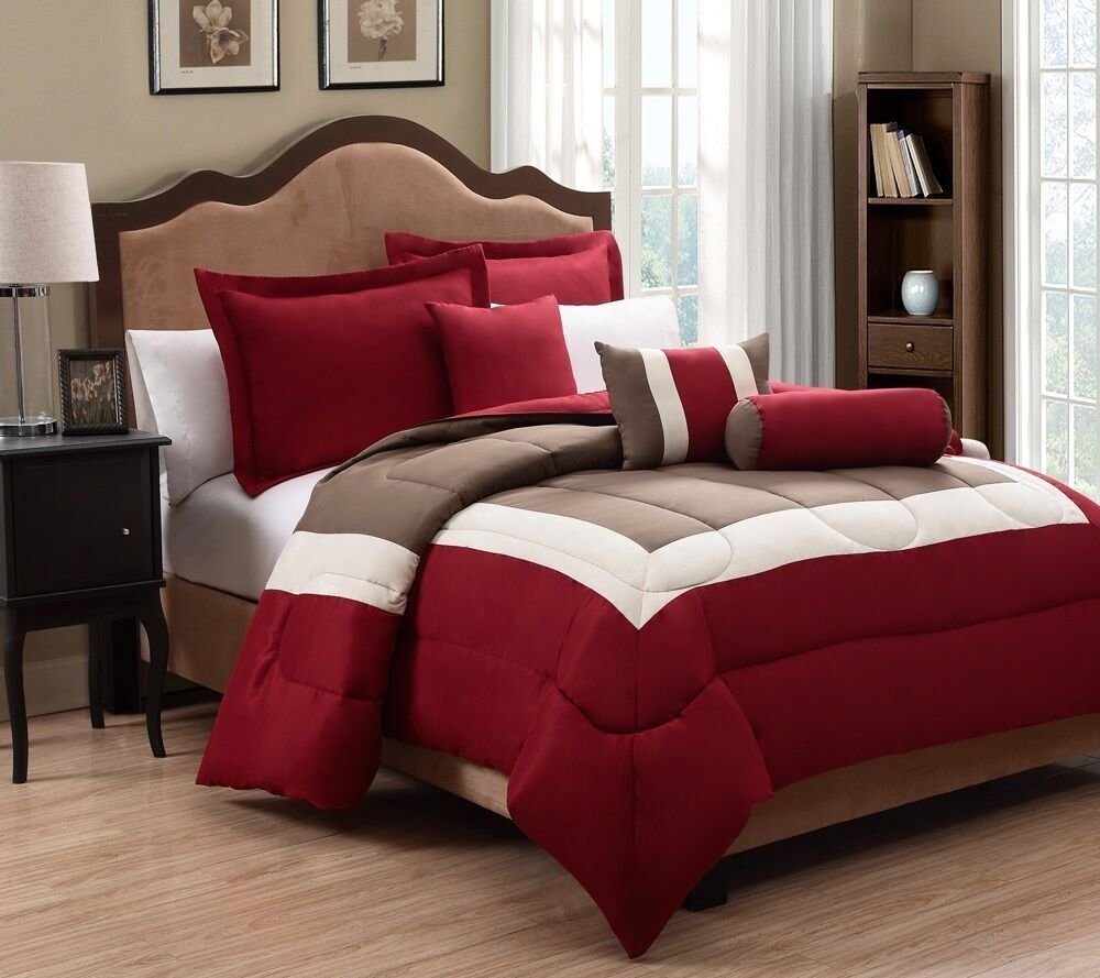 Best 6 Piece Tranquil Red And Taupe Comforter Set Ebay With Pictures