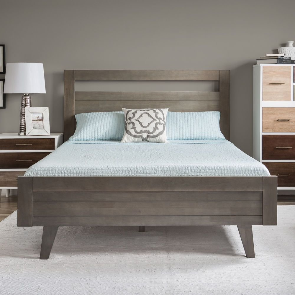 Best Platform Bed Queen Modern Mid Century Grey Gray Wood With Pictures