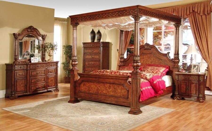 Best 4 Post Queen Bedroom Set Canopy Bed Furniture Marble Top Nightstand King Sets Ebay With Pictures