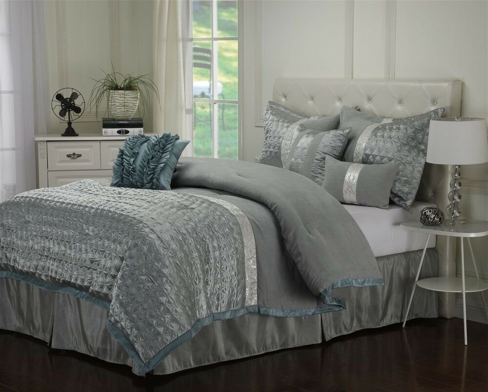 Best Dannica 7 Piece Silver Teal Ruffled Comforter Bedding With Pictures