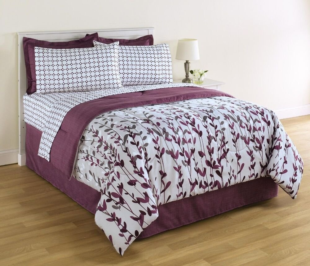 Best King Size White And Purple Comforter And Sheet Set Floral With Pictures