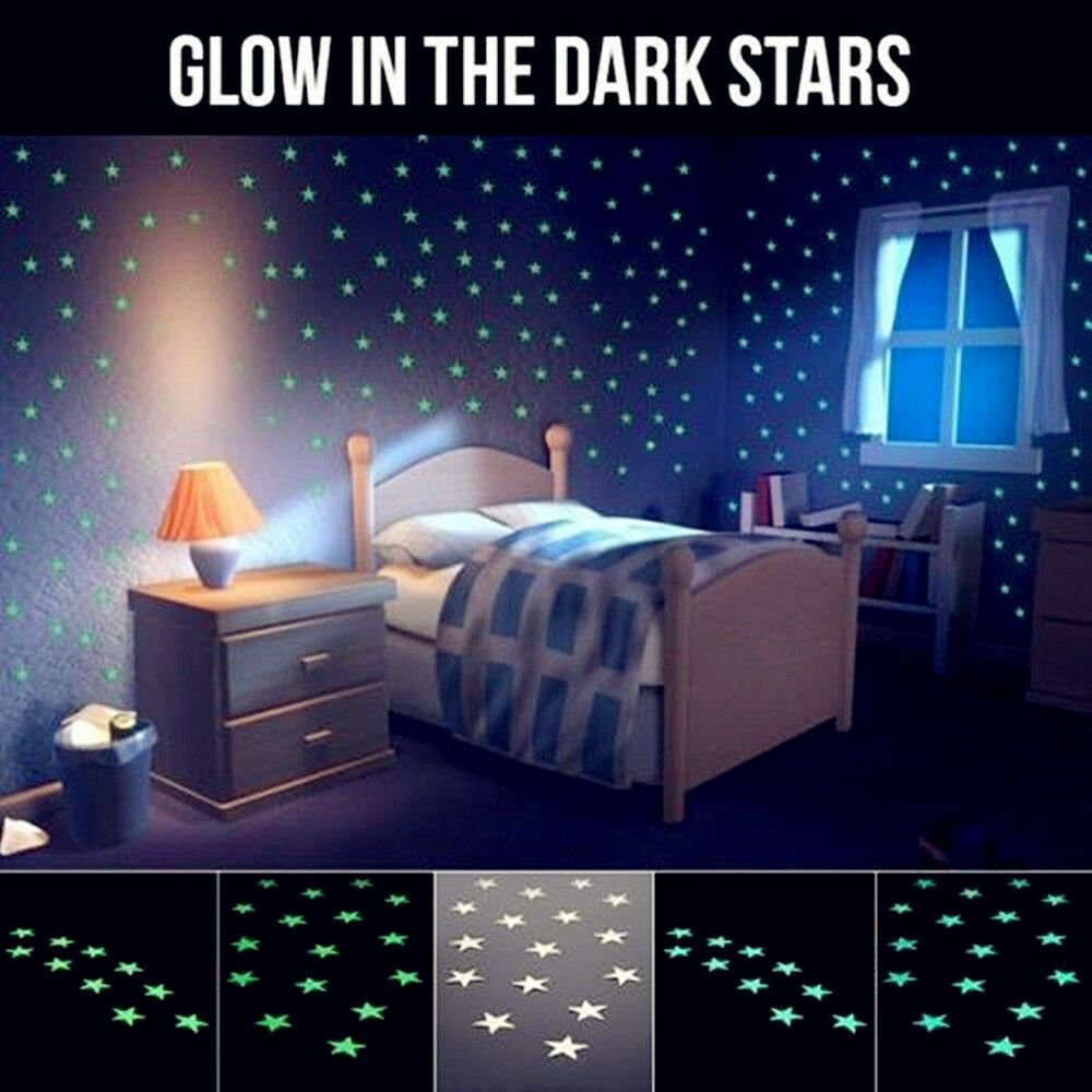 Best Lots 100Pcs Light Green Glow In The Dark Star Stickers With Pictures