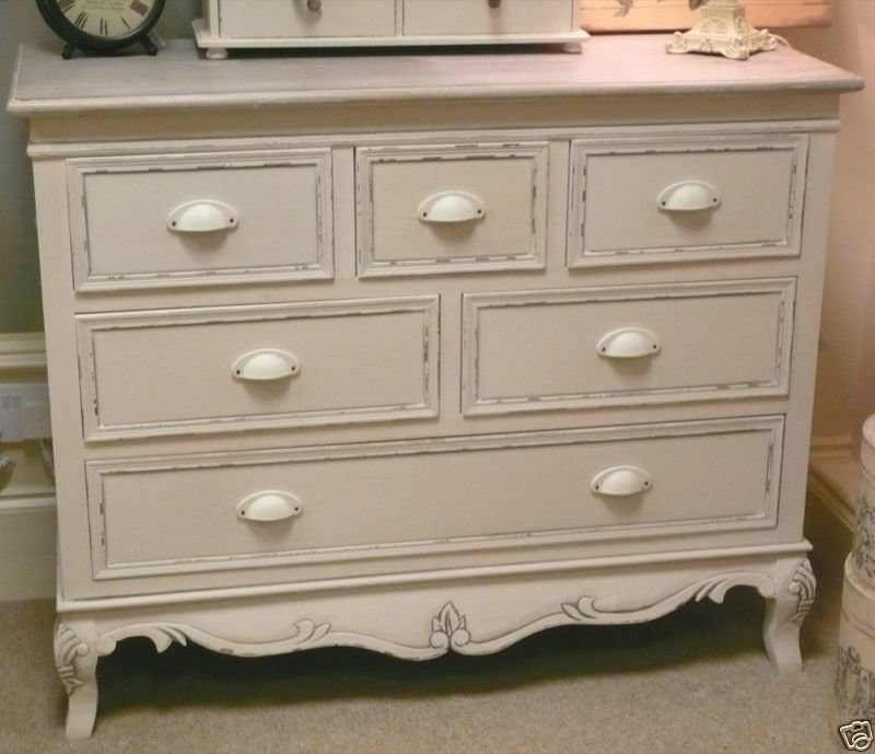 Best Cream Large Chest Of Drawers French Vintage Shabby Bedroom Furniture Cottage Ebay With Pictures