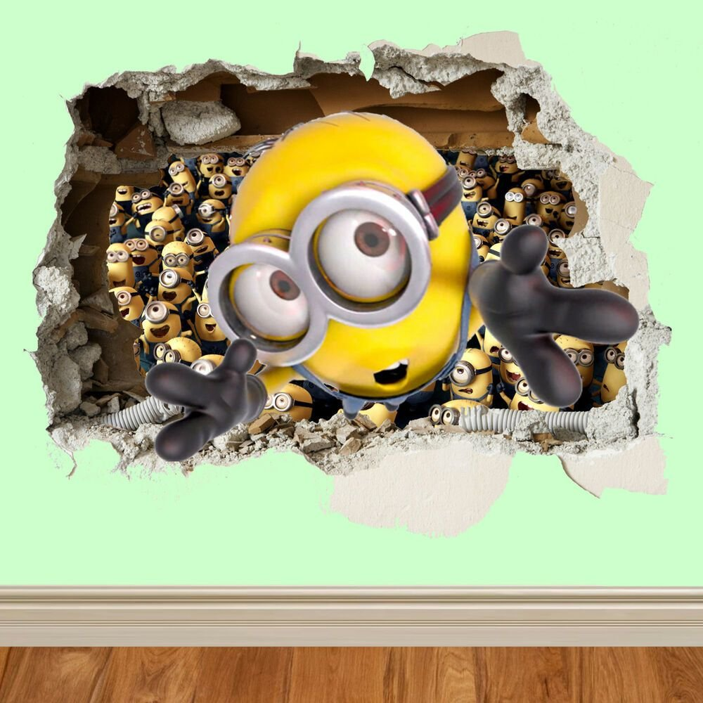 Best Minions Wall Smash Despicable Me Wall Sticker Kids With Pictures