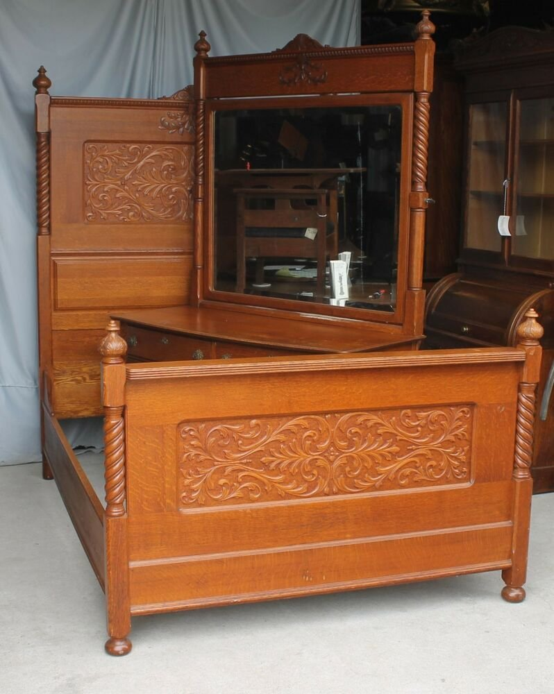 Best Antique Carved Oak Two Piece Bedroom Set Bed And Dresser With Pictures