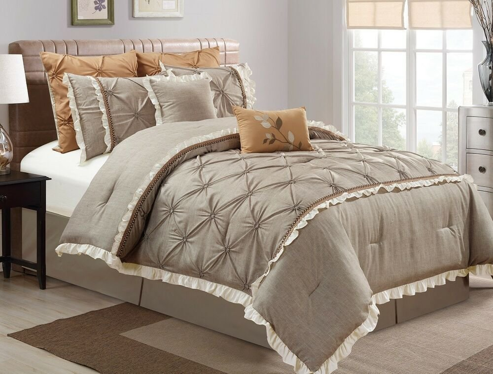 Best Chezmoi Collection Floral Pintuck Pleats Faux Linen Taupe With Pictures