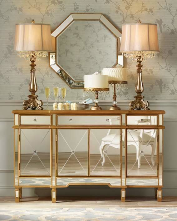 Best Hollywood Regency Mirrored Console Gold Cabinet Dresser With Pictures
