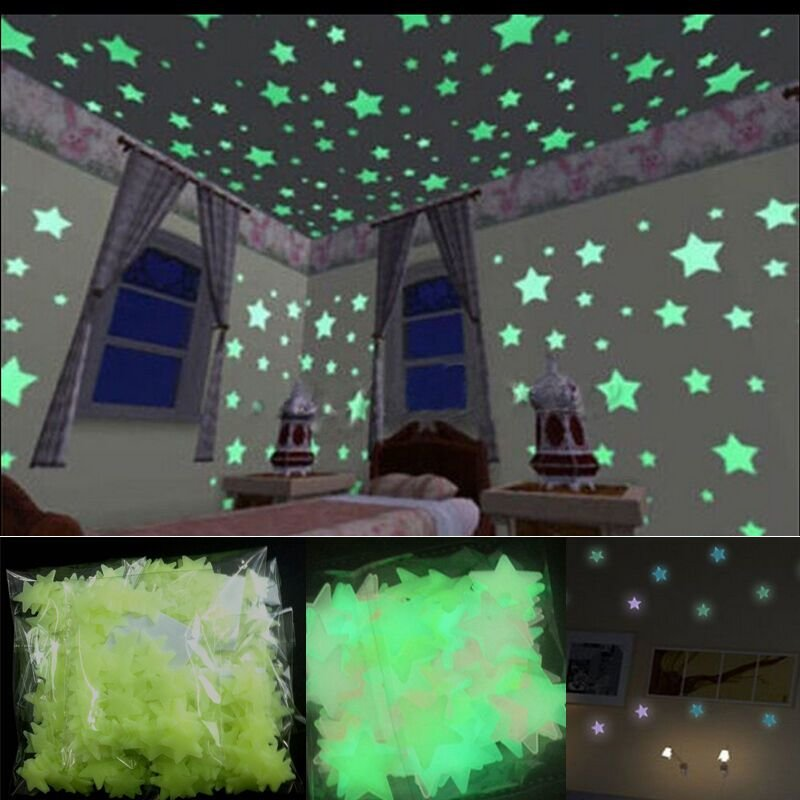 Best 100 Wall Glow In The Dark Stars Stickers Kids Bedroom With Pictures
