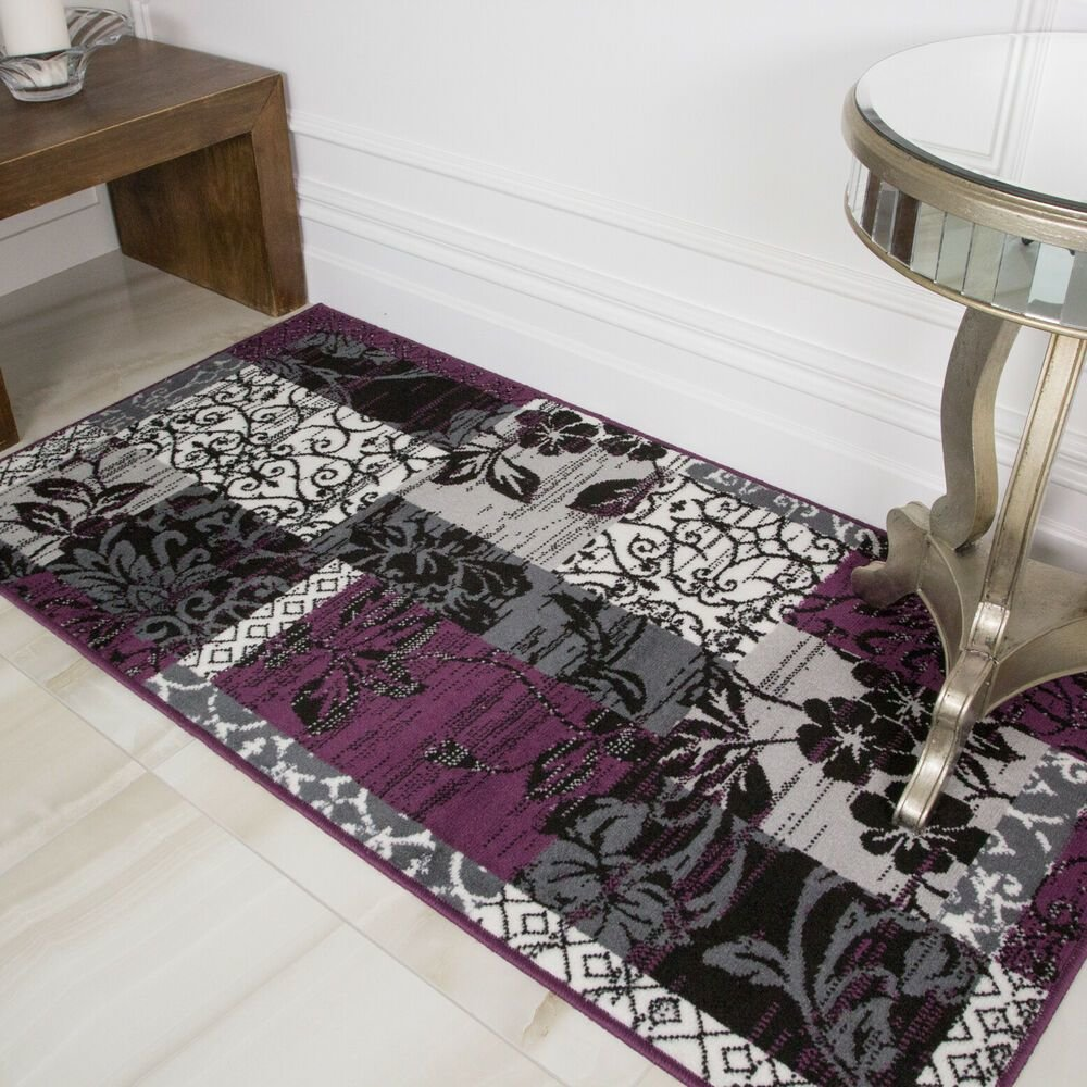 Best Purple Black Grey Modern Patchwork Rug Soft Milan Living With Pictures