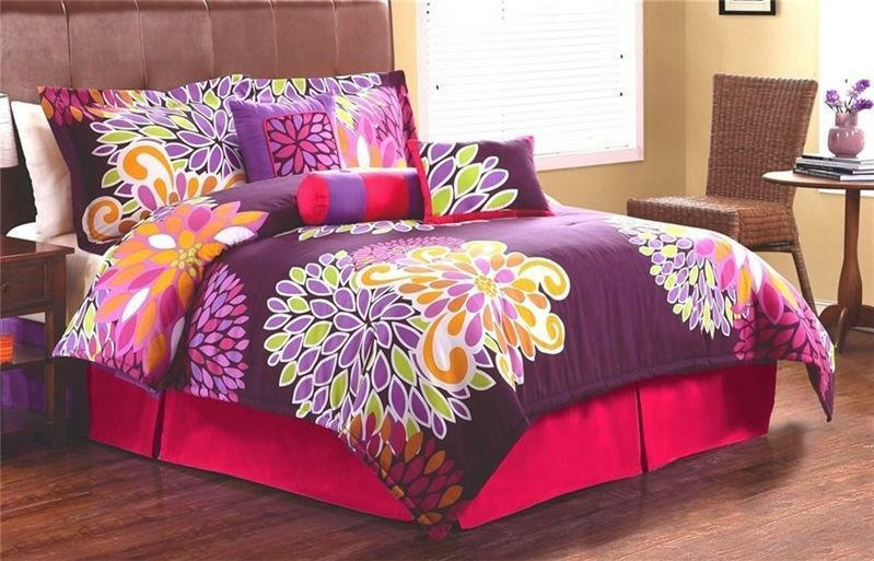 Best Girls T**N Flowers Pink Purple Twin Full Queen Comforter With Pictures