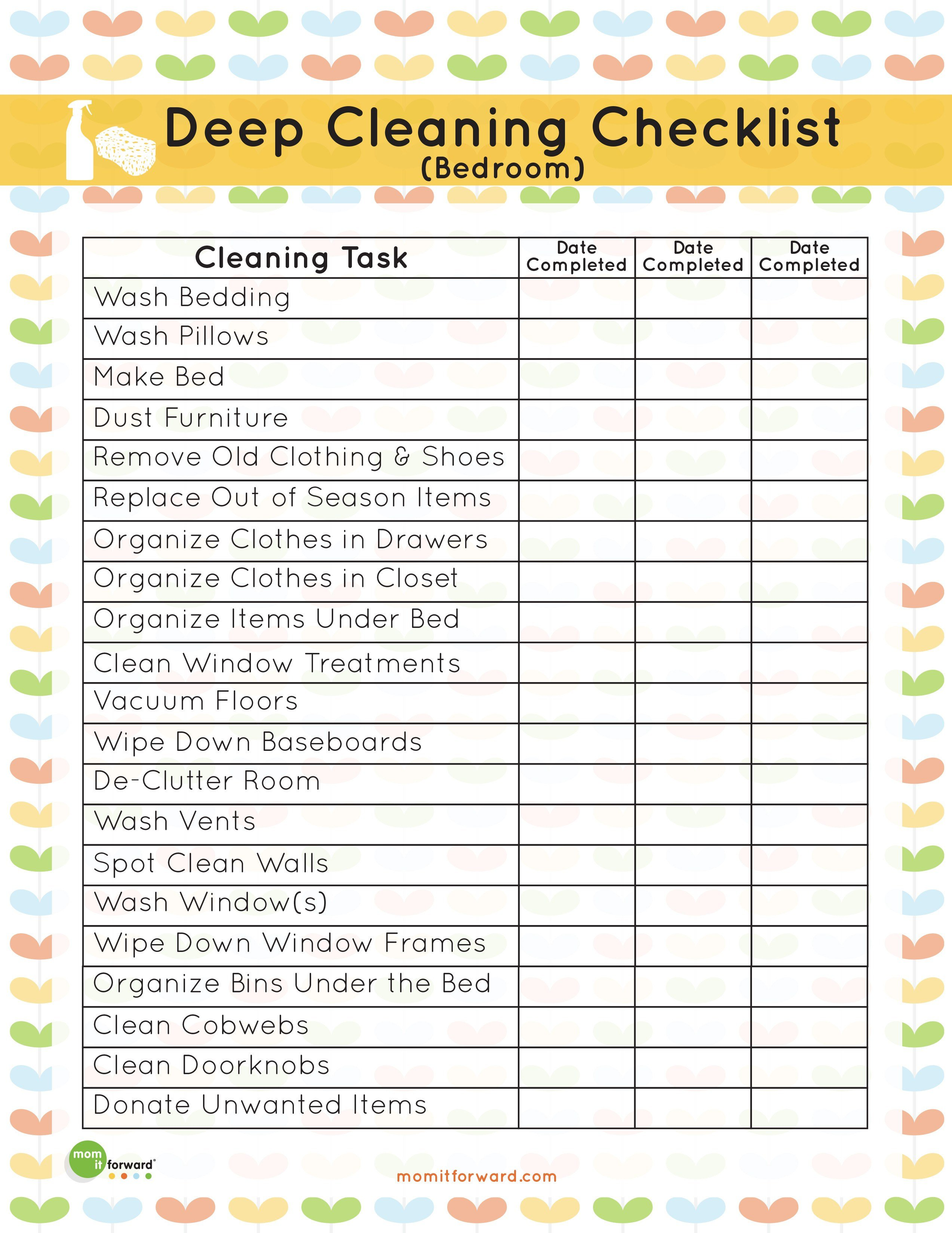 Best Printable Deep Cleaning Bedroom Checklist Mom It With Pictures